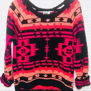 Roxy Sweaters - Roxy Pink and Black Cozy Knit Sweater